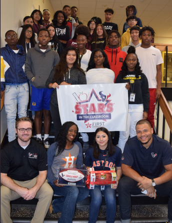 Hastings High School teacher recognized by Houston Texans, First Community Credit Union as Star in the Classroom.