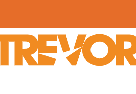 This is an orange logo that says The Trevor project on a white background.  Between the E and the V, an outline of a star.