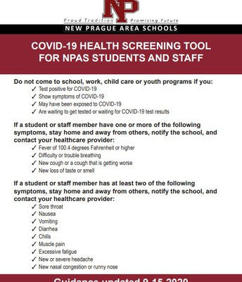 COVID-19 Health Screening Tool for Students and Staff