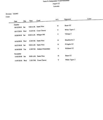 2018 3/4th Grade Girls Basketball Schedule