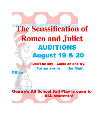 All School Fall Play Auditions!