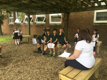 Outdoor class with Mrs. Kirkpatrick