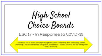 High School Math Choice Boards