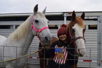 Freshman FFA student Caurina Janev with Candy & Reckless