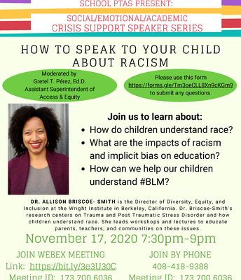 Tues., 11/17: How to Speak to Your Child About Racism WebEx