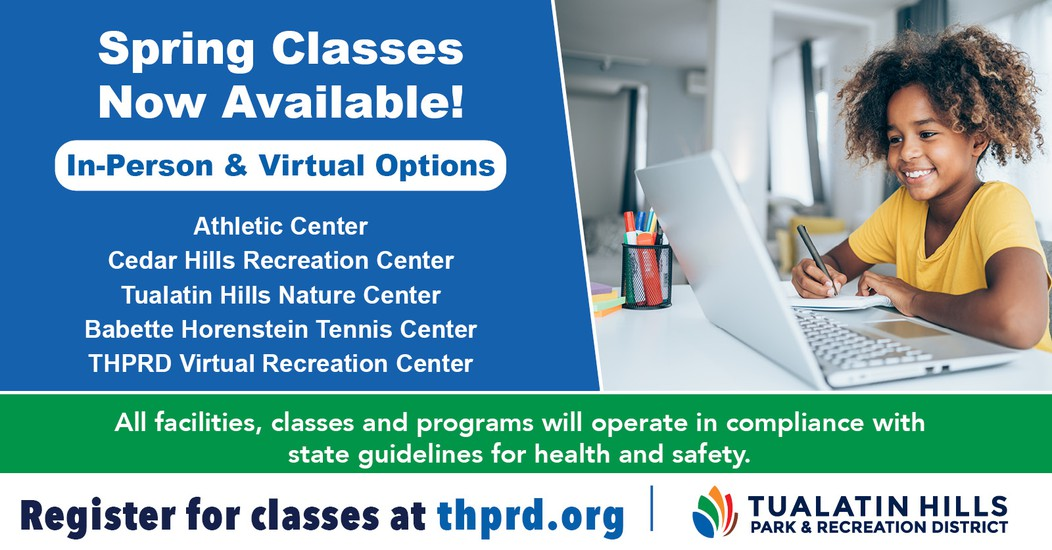 THPRD Spring Registration Graphic - Girl smiling in front of computer