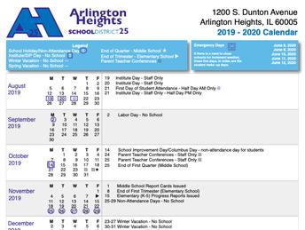 2019-2020 D25 School Calendar