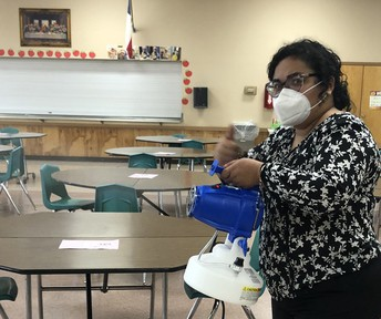 Blasting away germs with our Electrostatic sprayer