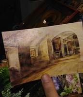 Довоенный рисунок скального монастыря