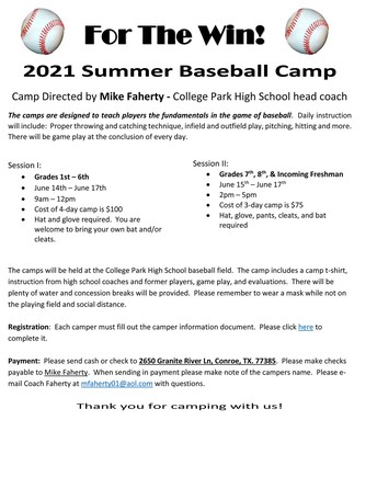 For The Win Summer Baseball Camp at College Park High School!