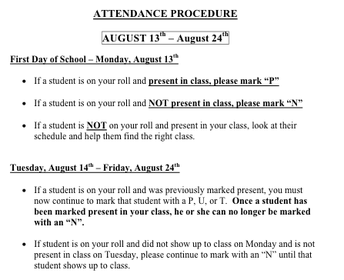 First Day and First Week School Procedures