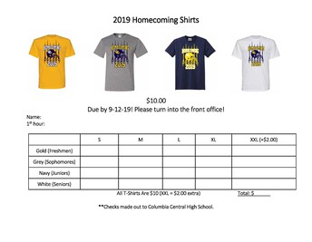 Order your 2019 Homecoming Shirt today!