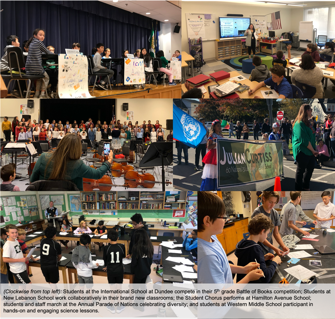 Collage of images from the various Magnet Schools around Greenwich highlighting students and staff at each school