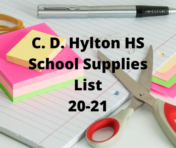 C. D. Hylton School Supplies List 20-21