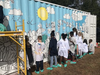 Ribbon Cutting for 5th Grade Mural Project