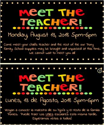 Meet the Teacher Night Monday August 13th