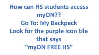 STEP 1:  Access myON thru APS MyBackPack website