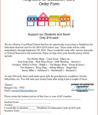 Neighbors For Education Card