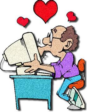 cartoon man kissing computer monitor