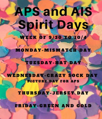 Spirit Days Announced for APS and AIS:
