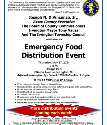 Emergency Food Distribution Event, Thurs., May 27