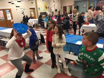 PTO Winter Chill toss marshmallows in bowl activity
