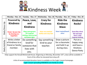 Kindness Week/Eagle Canyon's Annual Donation Drive