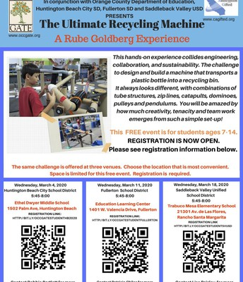 Free Event for Students Aged 7-14- The Ultimate Recycling Machine