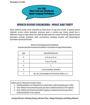 Speech Language Pathologists