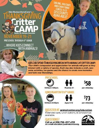 THANKSGIVING CRITTER CAMP AT HELEN WOODWARD ANIMAL CENTER