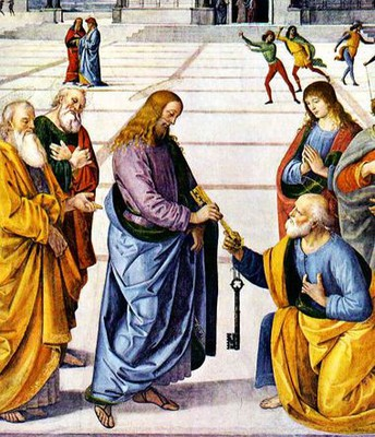Christ handing the keys to the Kingdom of Heaven to Peter