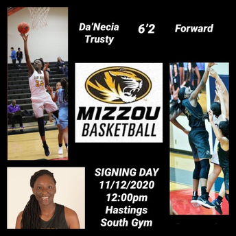 Hastings High School student Da'Necia Trusty recently signed her National Letter of Intent.