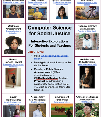 Computer Science for Social Justice PSA & Choice board (6-12)