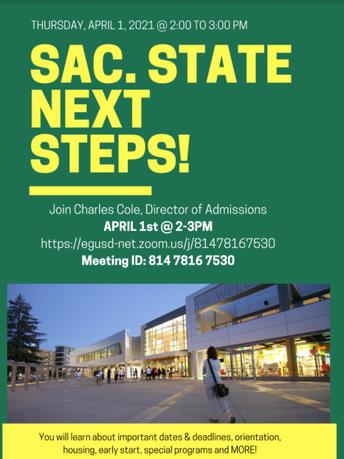 CSU Sacramento Next Steps: April 1st at 2pm