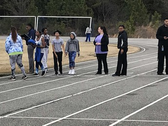 Carver Students & Coaches at Track & Field tryouts