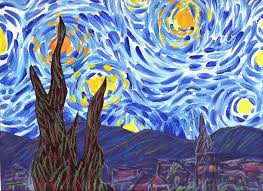 Starry Night Landscape Inspired by Vincent Van Gogh: