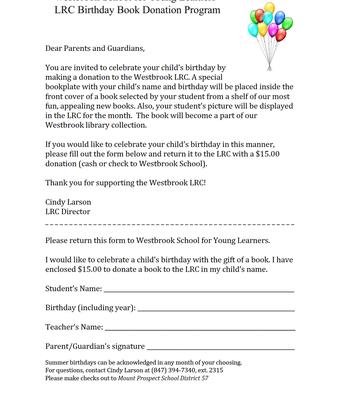 LRC Birthday Book Donation Program
