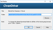 "The OverDrive software will open. It will tell you where the audiobook will be saved on your computer. Click ""OK"" to continue."