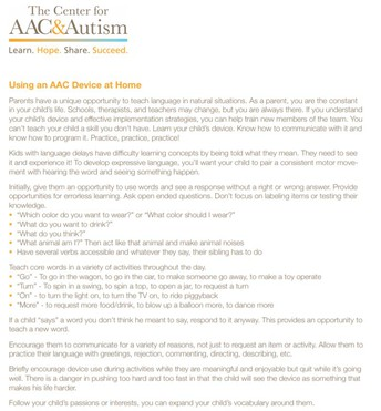 Using AAC Devices at Home