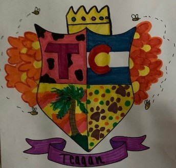 Drawing of a family crest with paw prints & palm trees
