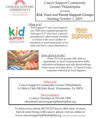 Kid, Teen & Parent Cancer Support Groups