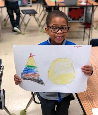 Kingston is proud of his artwork!