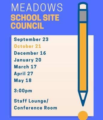 School Site Council Monday, 10/21 at 3:00pm