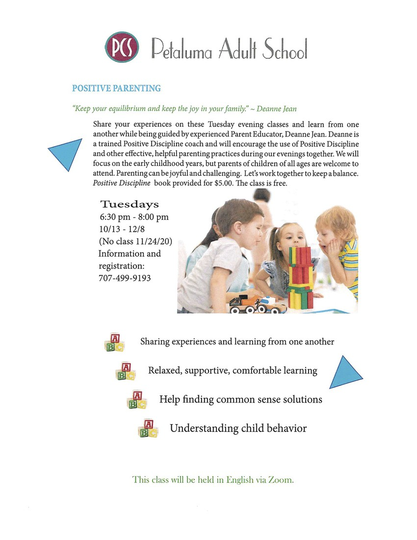 Petaluma Adult School Flyer: Positive Parenting (English)