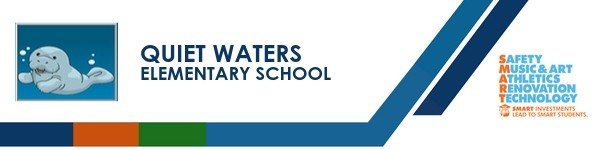 A graphic banner that shows Quiet Waters Elementary school's name and SMART logo with the SMART logo