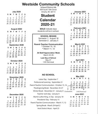 Westside Community Schools 20-21 School Calendar