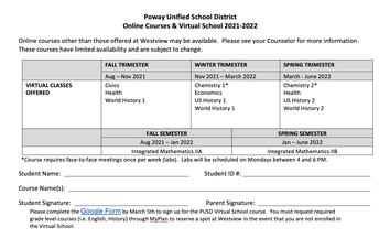 PUSD Online Course Offerings