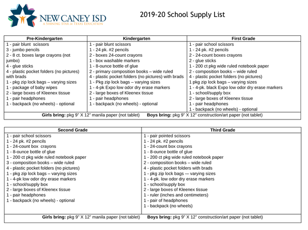 19-20 School Supply List | Smore Newsletters for Education