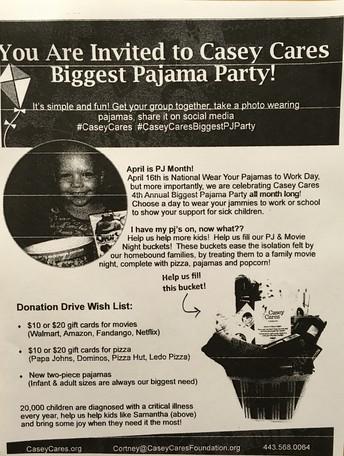 #CaseyCares - PJ Party Program