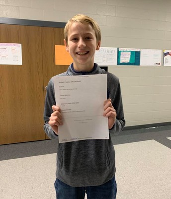 Peyton received a positive office referral for carrying all of the PTO supplies in without being asked. #lmmsrocks